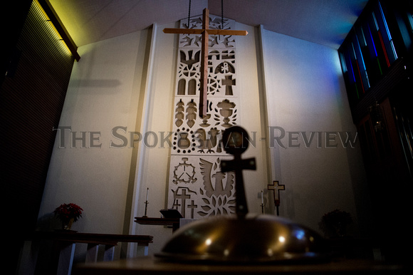 CHRISTIAN SYMBOLISM BEHIND THE ALTAR, MESSIAH LUTHERAN CHURCH
