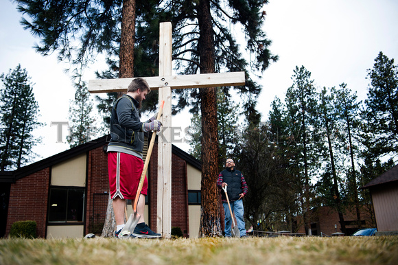 ASH WEDNESDAY, PUTTING UP A CROSS AT WHITWORTH COMMUNITY PRESBYT