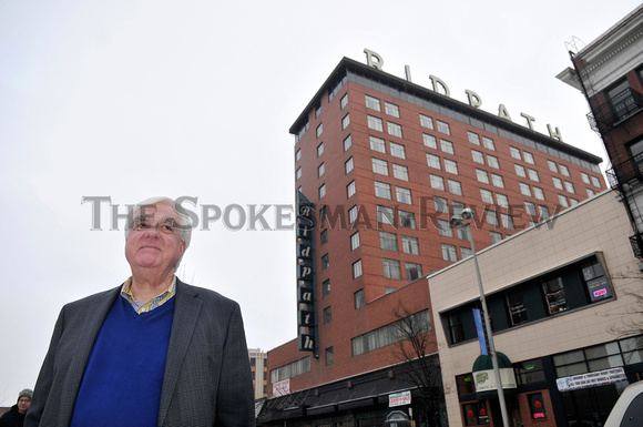 RON WELLS, DEVELOPER, STANDS OUTSIDE THE OLD RIDPATH HOTEL